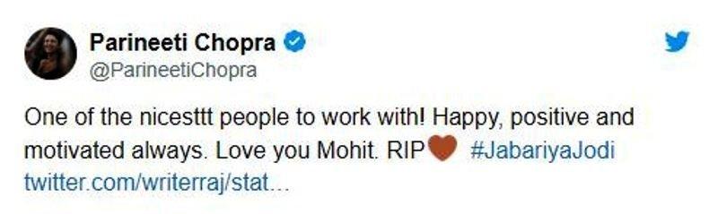 Parineeti Chopra's Tweet on Mohit Baghel's Demise