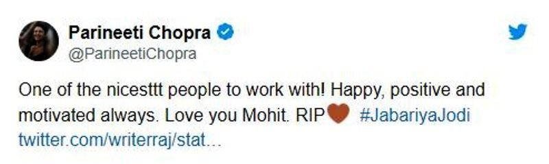 Parineeti Chopra's Tweet on Mohit Baghel's Demise