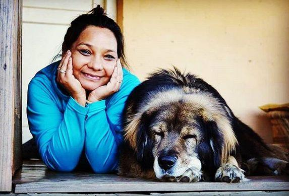 Sunita Rajwar with her pet dog
