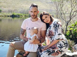 Faf du Plessis With His Wife And Daughter