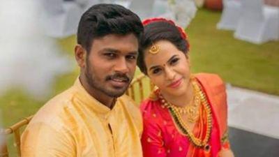 Sanju Samson with His Wife