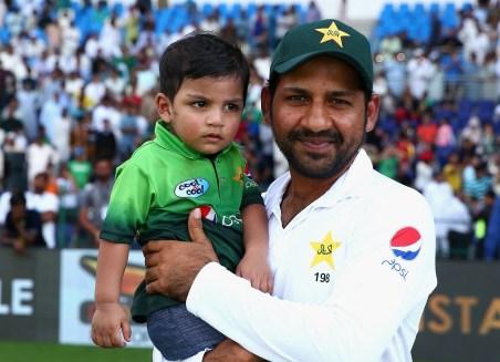 Sarfaraz Ahmed With His Son
