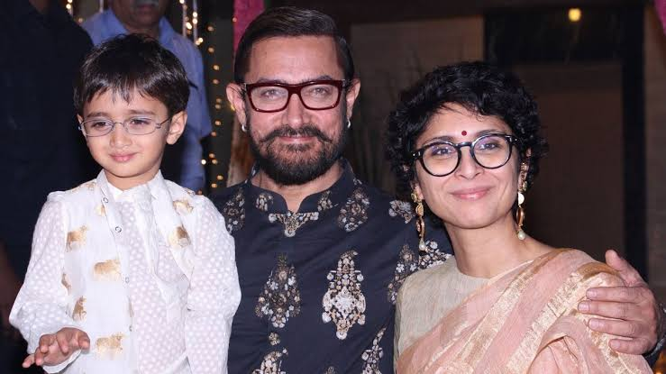 Amir khan With his son azad khan and wife kiran rao