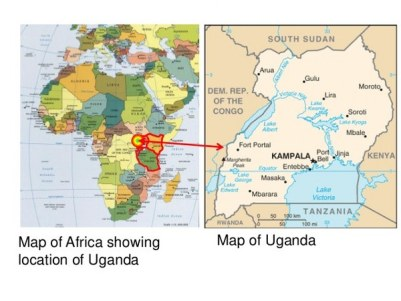 Map of africa showing loation of uganda tour
