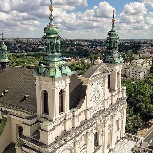 Lublin, zwiedzanie Lublina, katedra w Lublinie, lublin z lotu ptaka, panorama Lublina