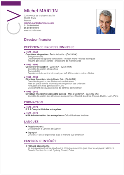 ordre experience professionnelle cv