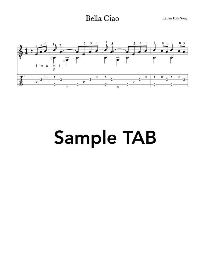 Easy Bella Ciao for Guitar - Free PDF sheet music and tab for classical guitar or fingerstyle guitar