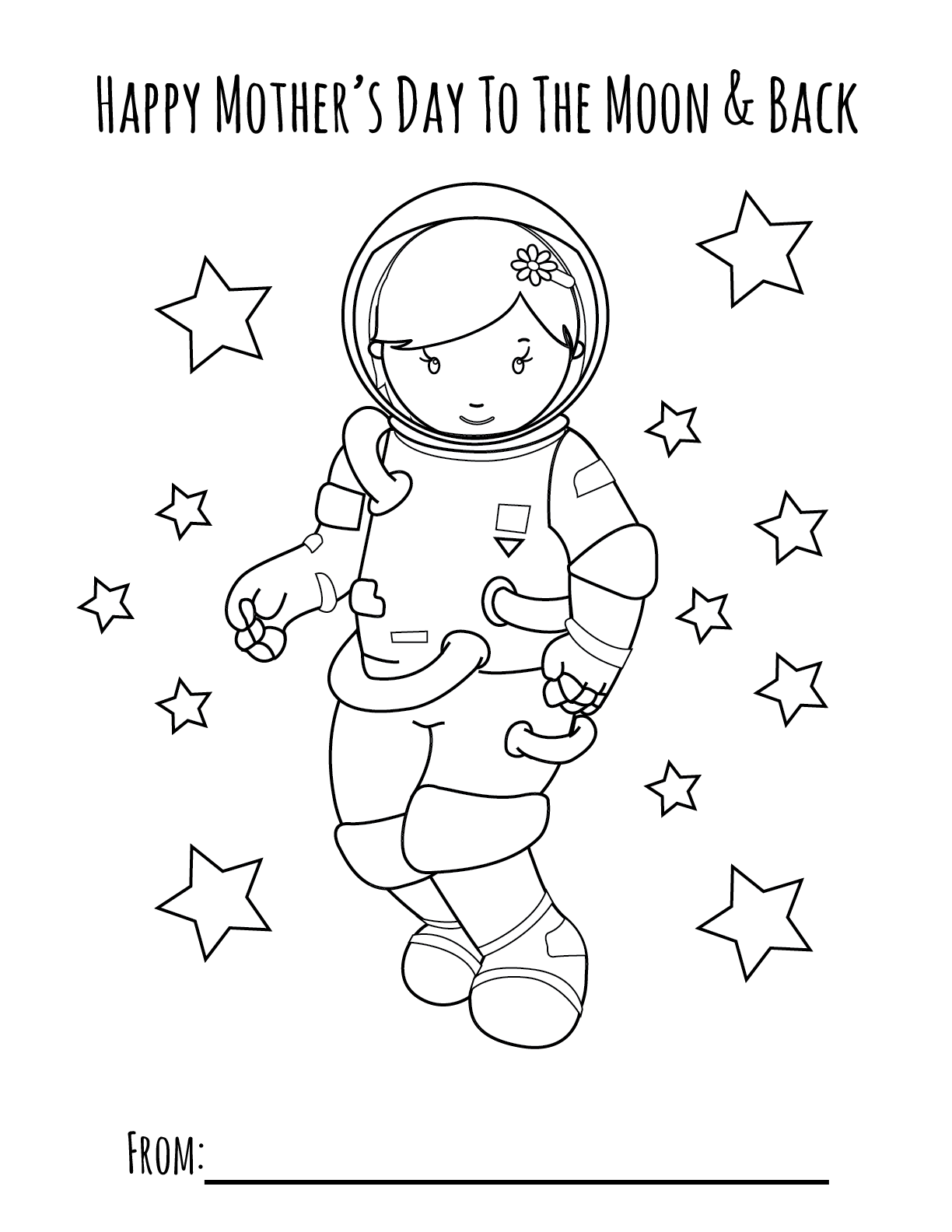 Moon Girl Mother S Day Printable Coloring Page Primoparty