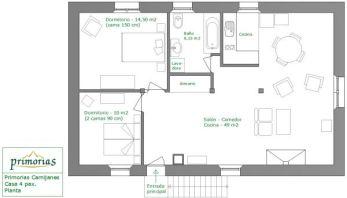Plano de la casa rural para 4 personas