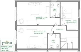 Plano de planta superior de la casa rural para 10 personas en Llanes