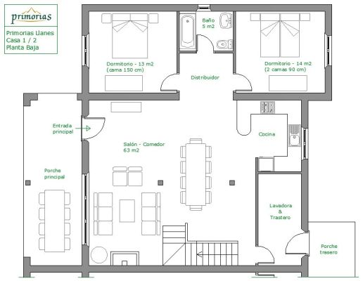Planos superficie en la casa rural para 10 personas en Llanes
