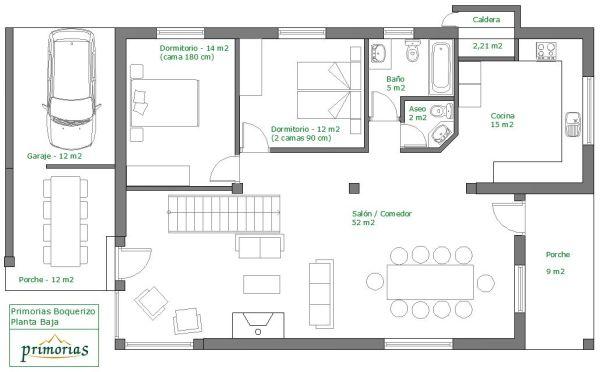 Plano de superficie de la casa para 10 personas en Boquerizo