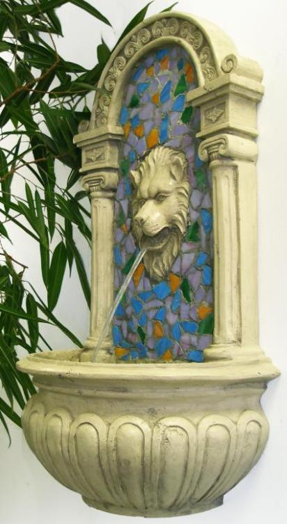 Lion Head Mosaic Resin Wall Fountain 163 124 99