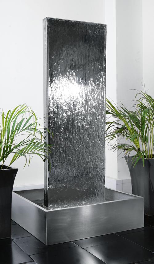 cascade mur d eau en inox 130cm double face avec reservoir en acier inox