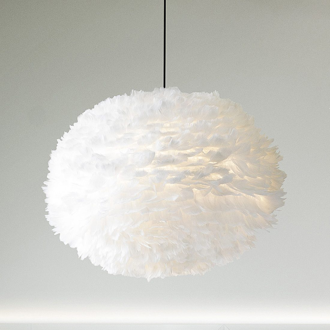 White Goose Feather Pendant Lampshade   Primrose  Plum