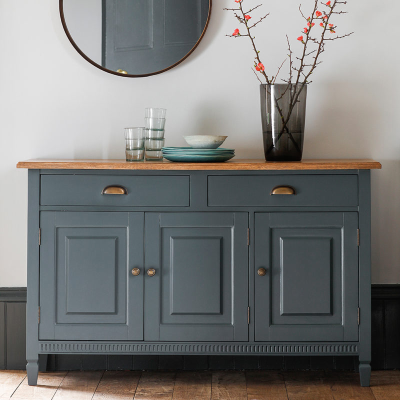 short tables living room design filipino style painted sideboard with oak top – midnight primrose & plum