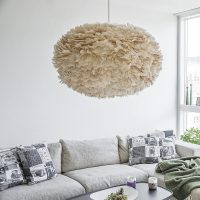 Light Brown Goose Feather Pendant Lampshade  Primrose & Plum