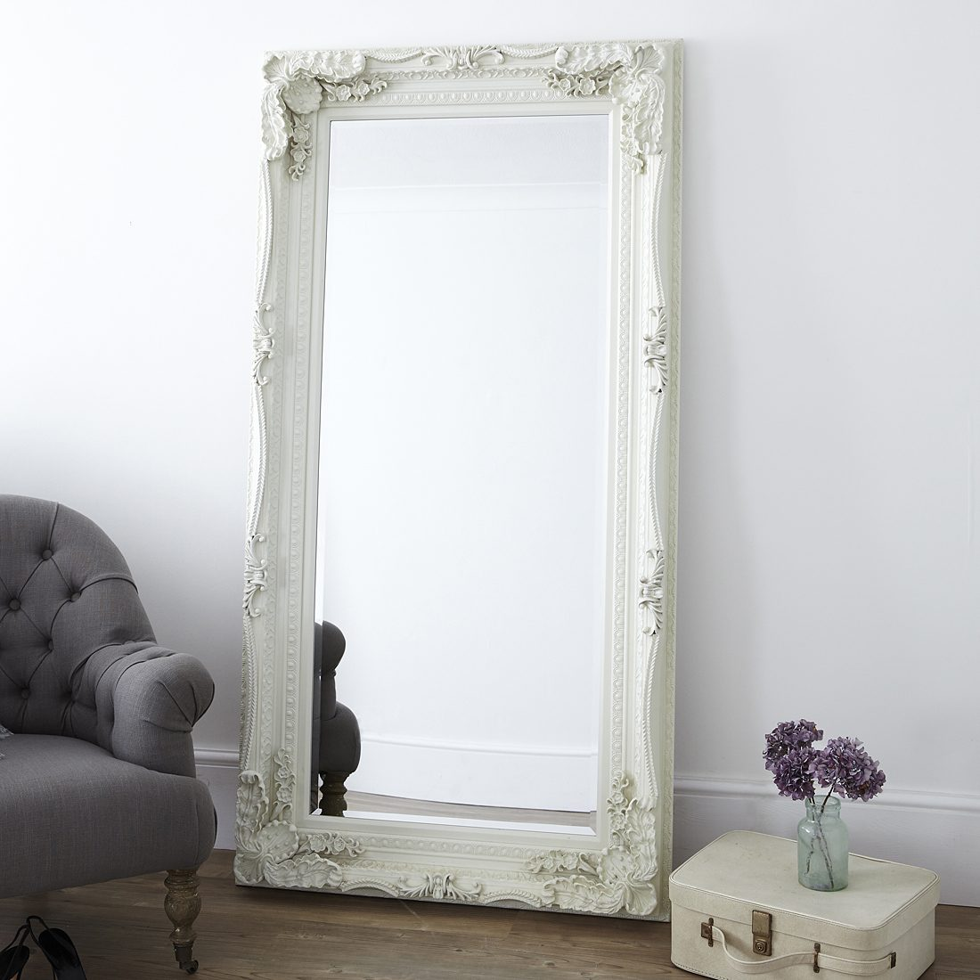 full length mirror in living room modern chairs decorative cream primrose plum dressing with a french style ornate frame