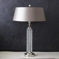Elegant Crystal Table Lamp & Silk Shade  Primrose & Plum