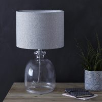 Small Recycled Glass Table Lamp with Grey Shade  Primrose ...