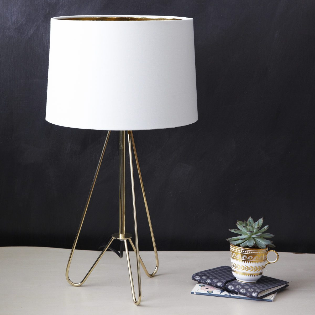 Gold Tripod Table Lamp with Shade