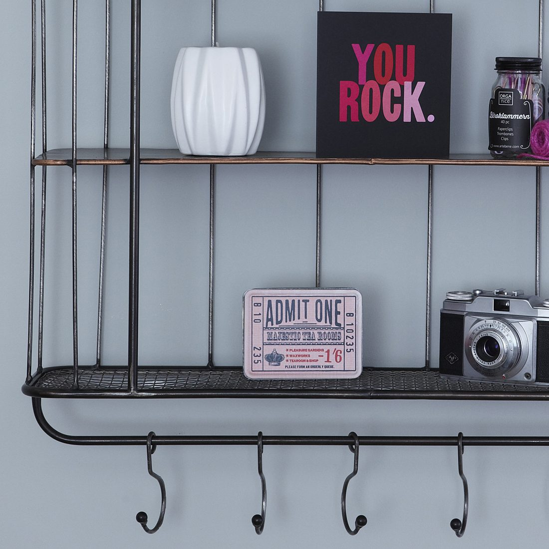 ThreeShelf Industrial Shelf Unit with Hanging Hooks