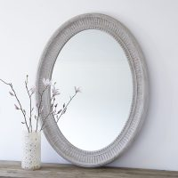 Large Grey Oval Wooden Wall Mirror  Primrose & Plum