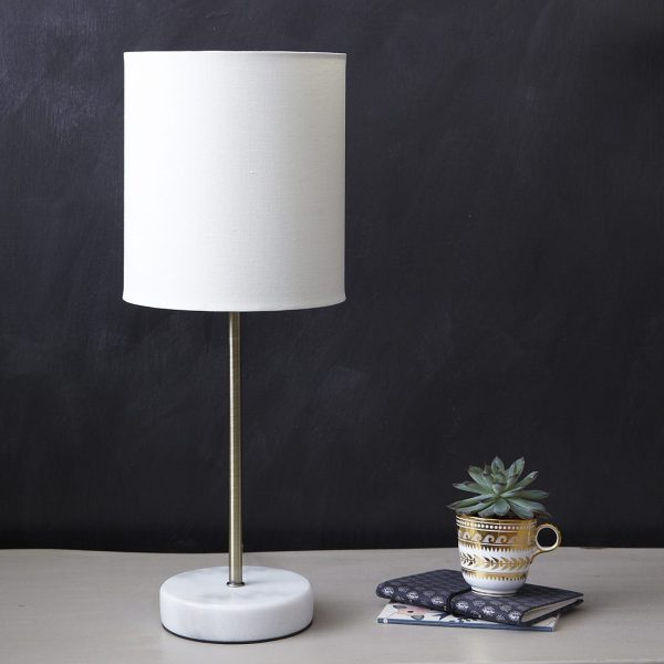 Marble & Brass Stick Table Lamp With Shade Primrose Plum