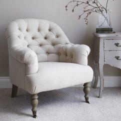 Small Bedroom Occasional Chair With Armrest Button Back Armchair  Natural Primrose And Plum