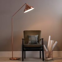 Vintage Metal Floor Lamp  Copper, Grey or Cream
