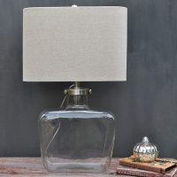 Fillable Glass Table Lamp & Natural Linen Shade  Primrose ...