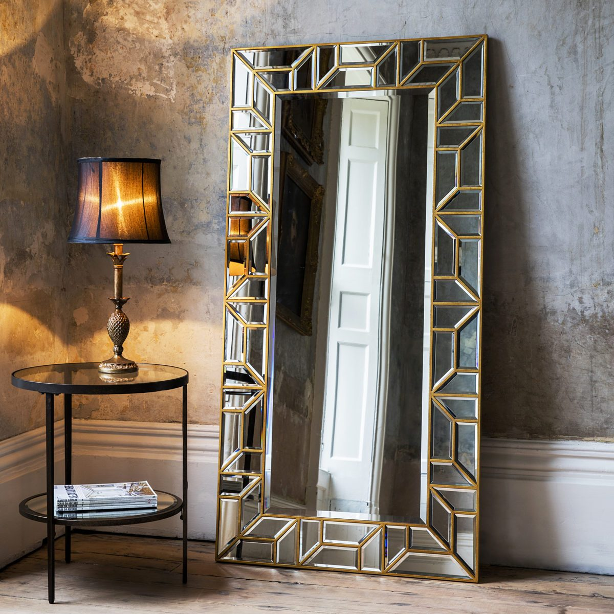 Gold Geometric Floor Standing Mirror  Primrose  Plum