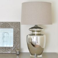 Large Silver Urn Glass Table Lamp & Natural Shade ...