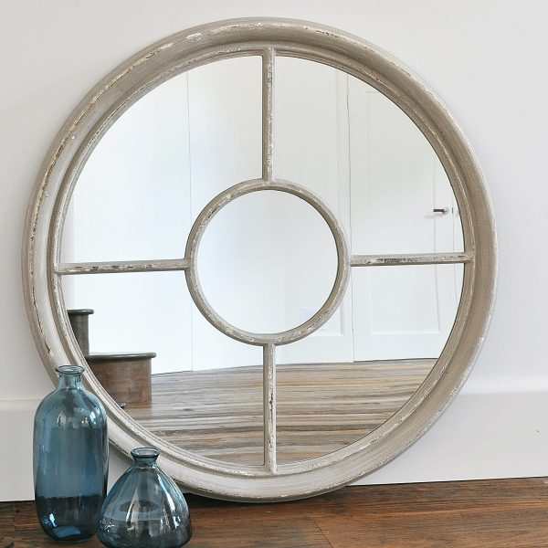 Round White Window Mirror