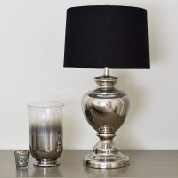 Silver Urn Table Lamp with Black Linen Shade | | Primrose ...