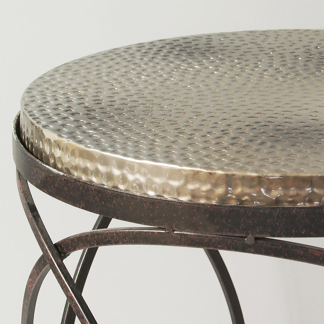 metal hammered top round side table