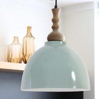 Duck Egg Metal Pendant Light with Wooden Top  Primrose & Plum