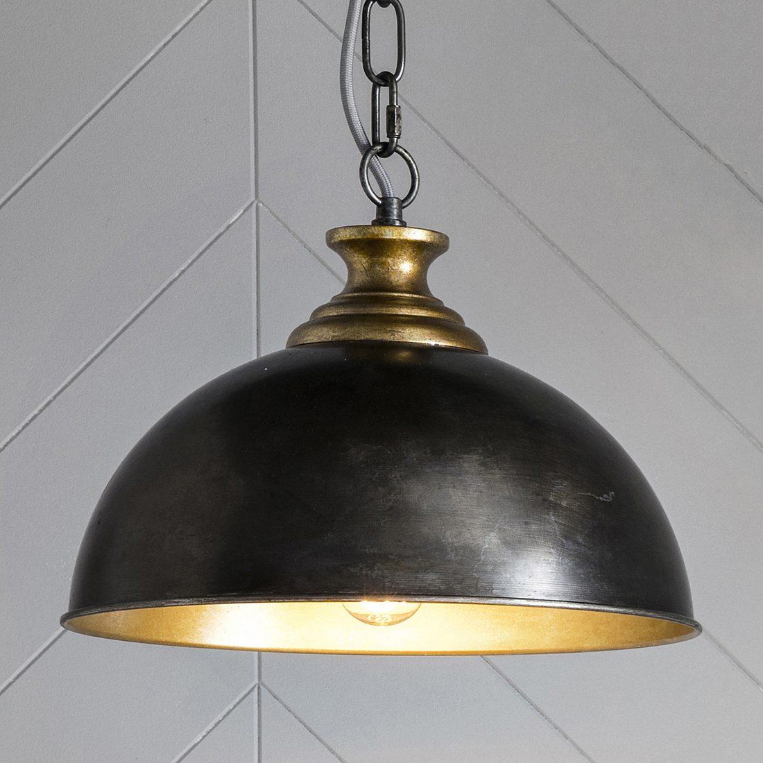 Black Domed Industrial Pendant Light Primrose Plum