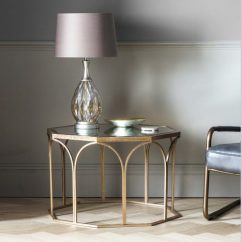 Black Glass Living Room Furniture Colour Ideas Grey Antique Gold Round Side Table With Vintage Mirror Top ...