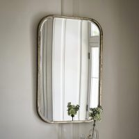 Curved Rectangular Silver Wall Mirror  Primrose & Plum