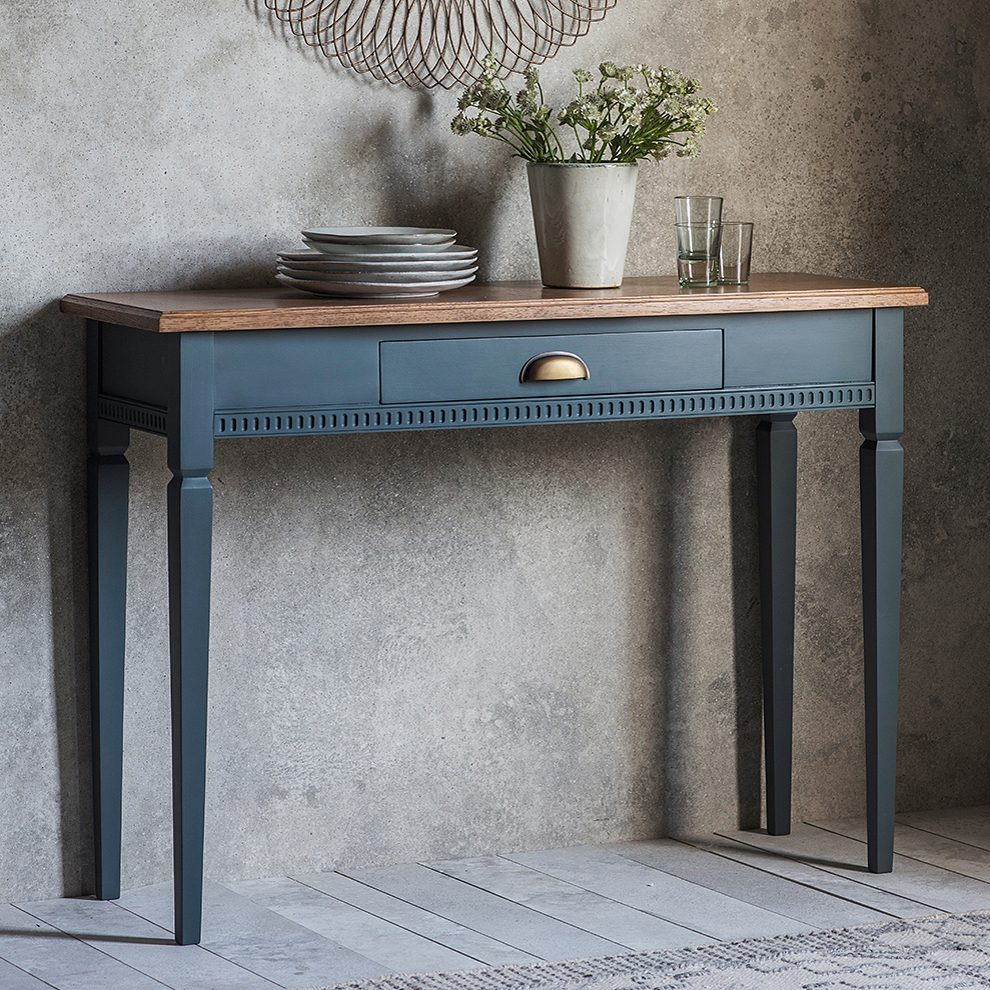 Painted Console Table with Oak Top  Midnight  Primrose  Plum
