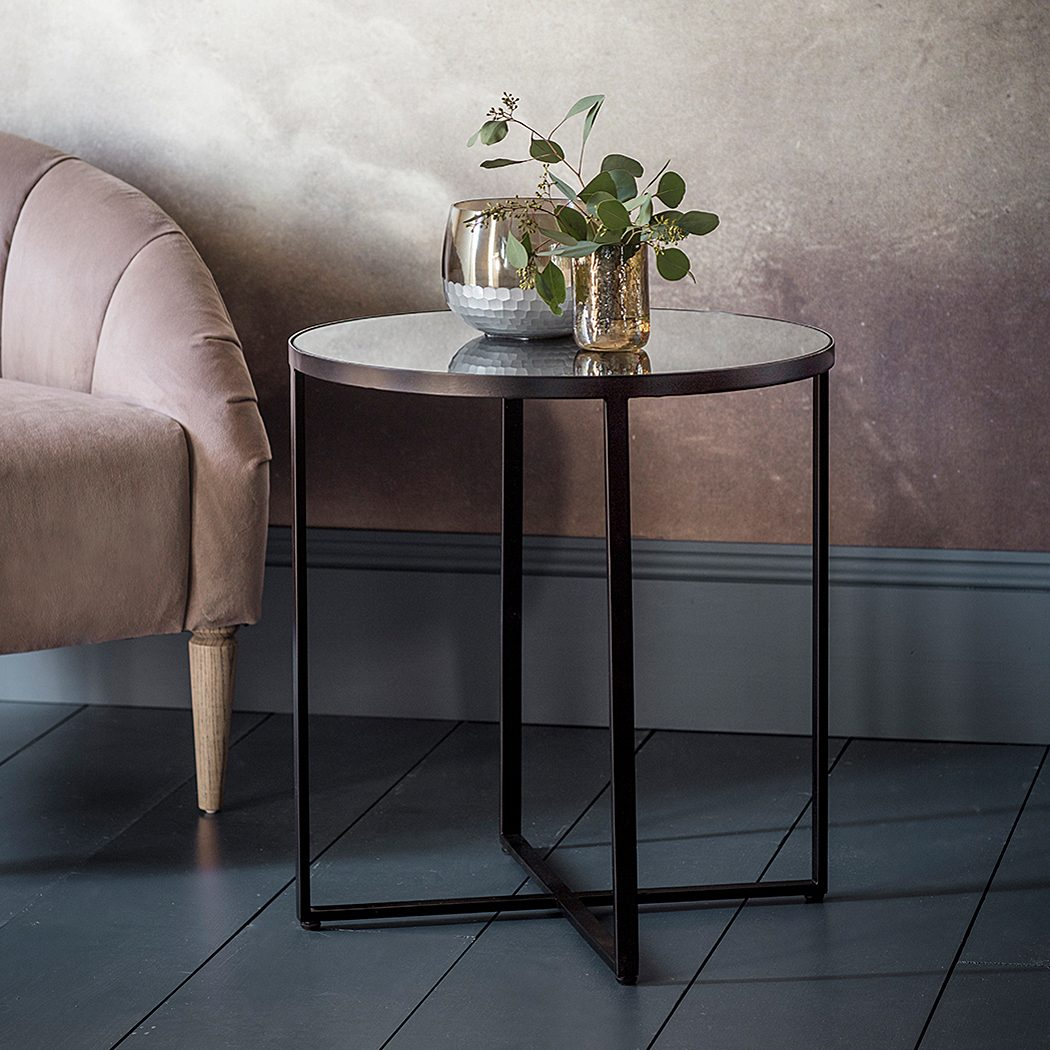 black metal side table with mirrored top