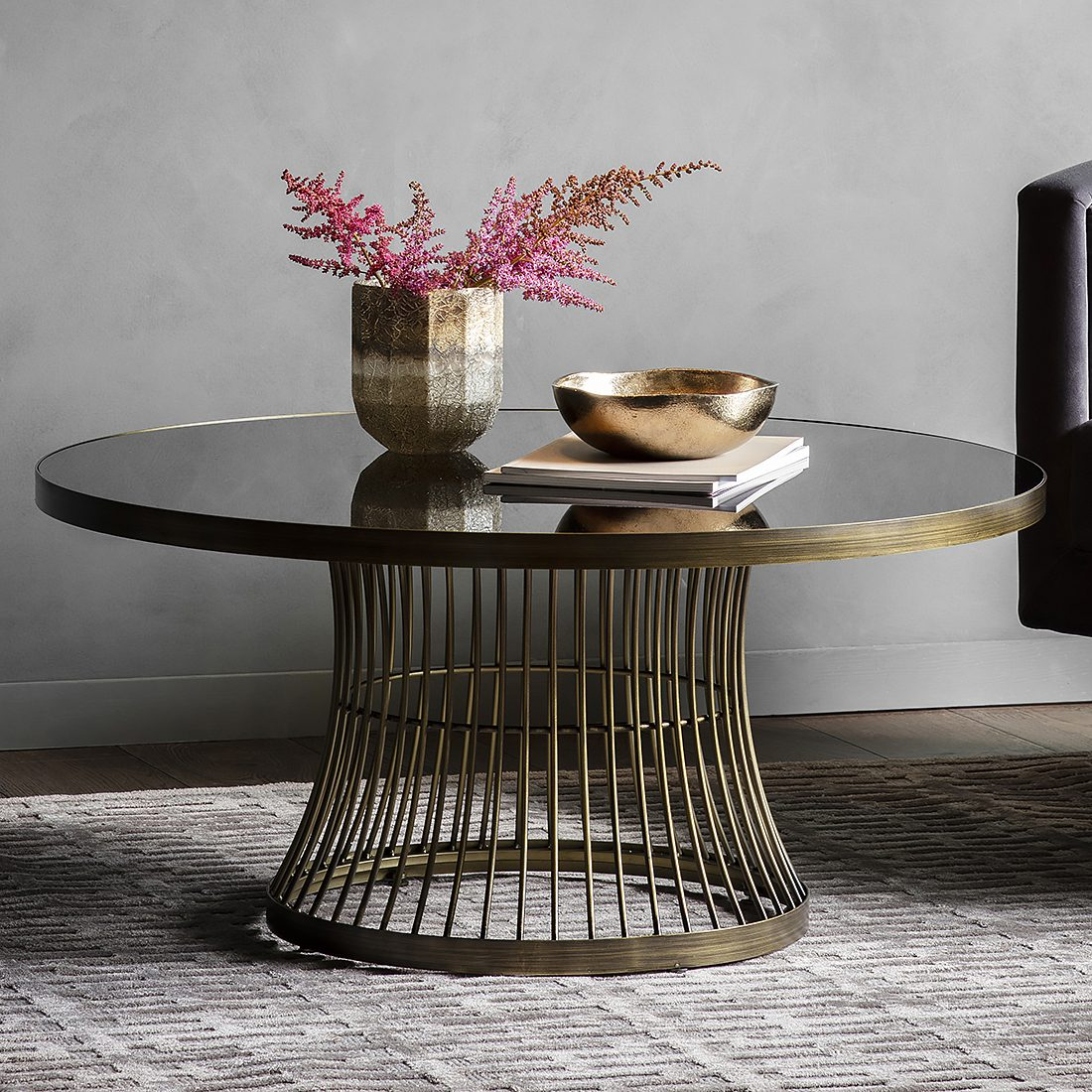 Round Coffee Table With Smoked Glass Top Bronze Primrose Plum