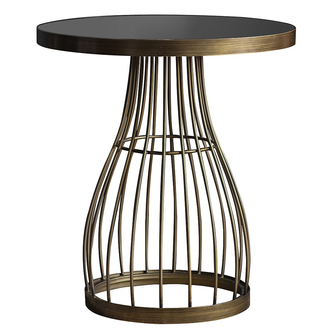 Round Side Table With Smoked Glass Top Bronze Primrose Plum