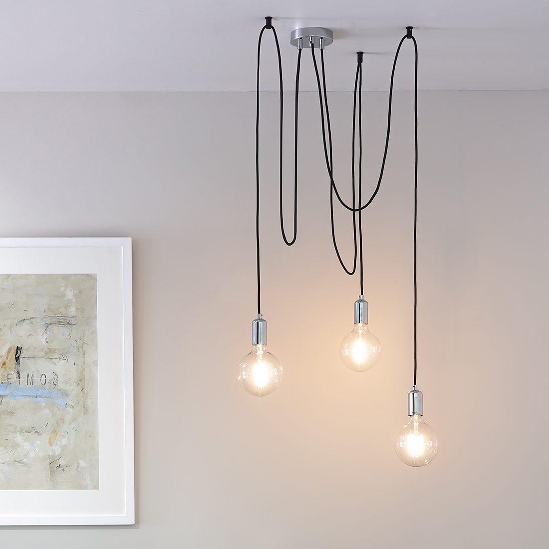Cleo Three Bulb Industrial Pendant Light Copper Or Chrome Primrose Plum
