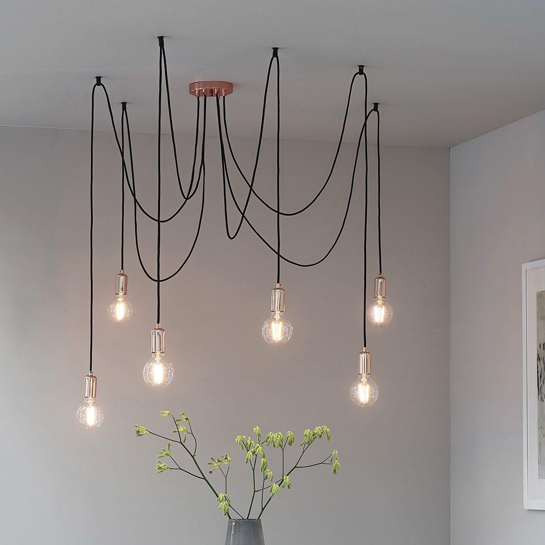 Cleo Six Bulb Industrial Pendant Light Copper Chrome Or Black Primrose Plum