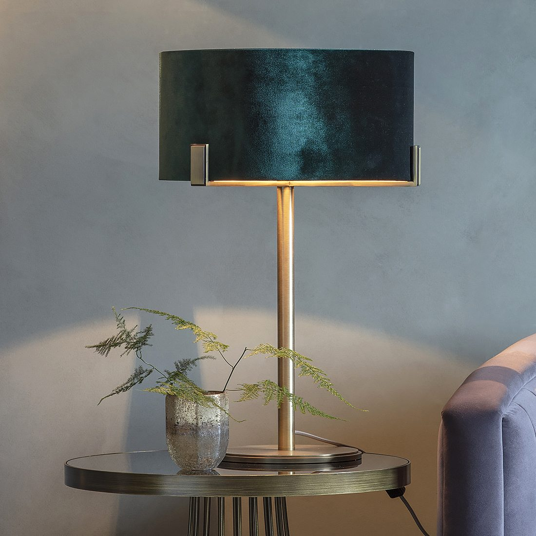 Brass Table Lamp with Peacock Green Velvet Shade