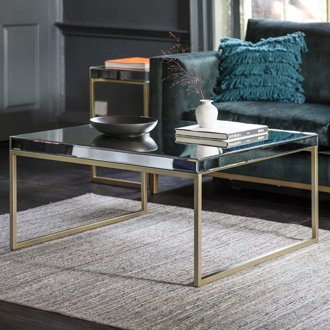 champagne gold mirrored coffee table