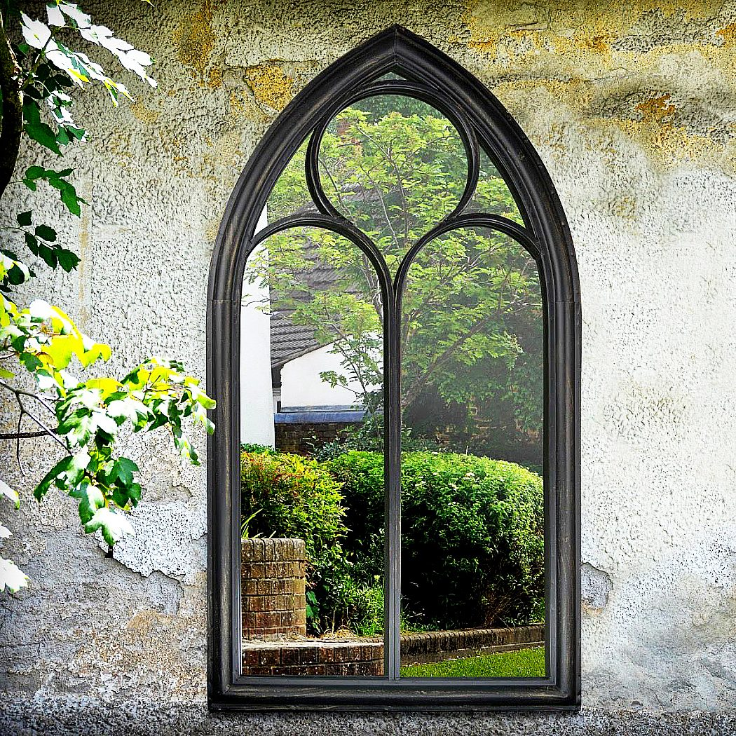 outdoor black chapel mirror