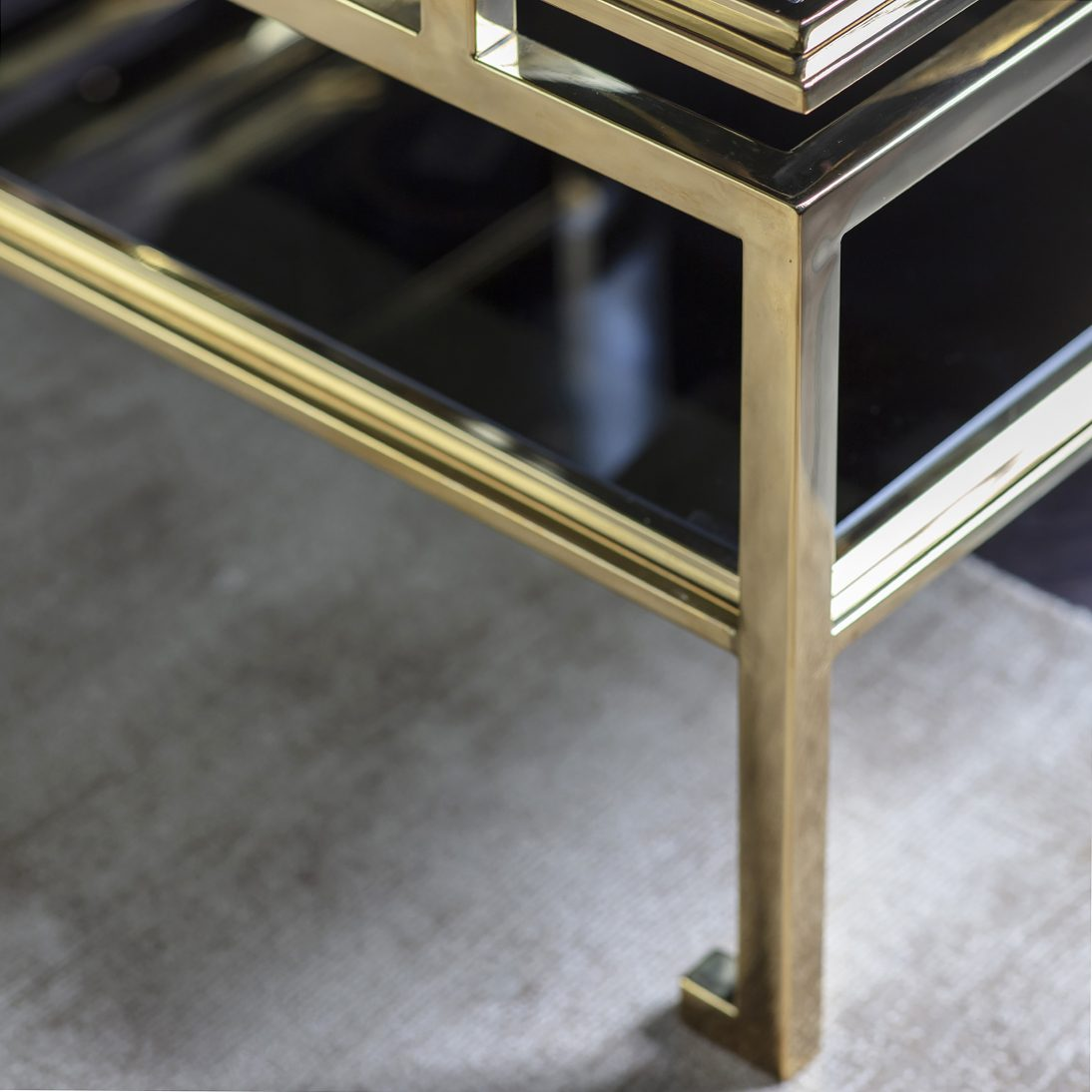 lucille gold square occasional table with glass top two sizes